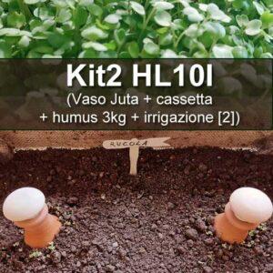vaso Juta con cassetta, con+humus da 10kg e irrigazione di 2pz